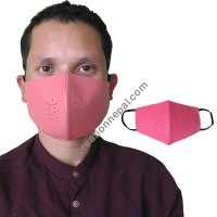 Leather pink color face mask