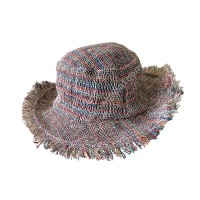 Mixed color natural hemp round hat