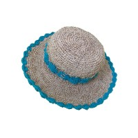 Turquoise round hemp-cotton crochet hat