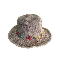 Flowers design hemp cotton round hat
