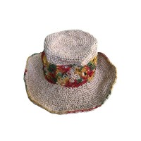 Flower net hemp cotton round hat