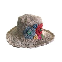 Flowers decorated hemp cotton hat
