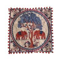 Tree & elephants art-work cushion cover
