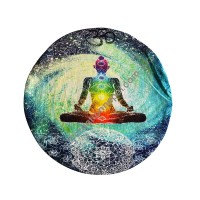 Meditation earth round cushion cover