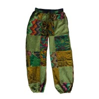 Printed cotton patch-work trouser