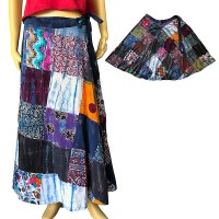 Printed patch-work Blue toned open skirt