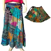 Green toned printed patch-work open skirt