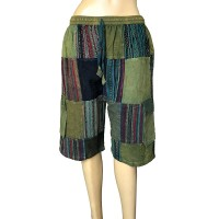 Stripy-plain patch work Green shorts