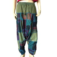 Front overlock Green patch-work afgani trouser