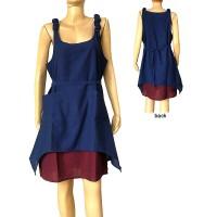 2 layer plain cotton Blue dress
