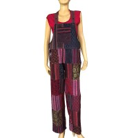 Stripy & printed patch work Dungaree