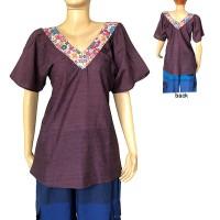 Printed V-neck cotton Brown top