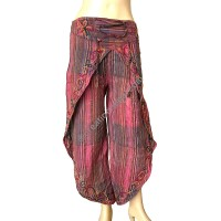 Stripy Brown sides open embroidered trouser
