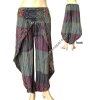 Stripy Green sides open embroidered trouser
