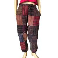 Stripy cotton patch work stone wash trouser