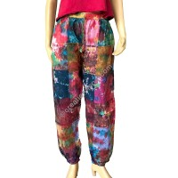 Colorful tie dye patch work trouser
