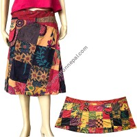 Patch work button adjustable Orange open skirt