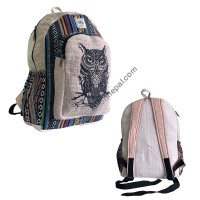 Owl hemp-cotton backpack