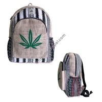 Ganja leaf hemp-cotton backpack