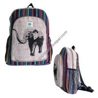 Elephant print hemp-cotton backpack