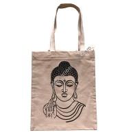 Buddha printed denim tote bag