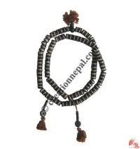 Flat black and white bone prayer beads2