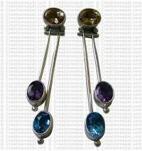 Long three stone Earring