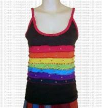 Rainbow design rib cotton t-shirt 2