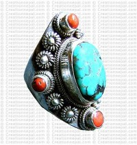 Turquoise stone finger ring 10
