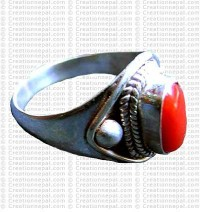 Coral stone finger ring 2