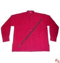 Shyama cotton round neck plain shirt-red
