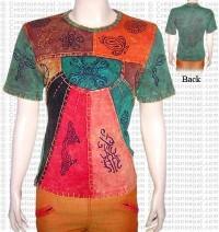 Crochet design multi-prints t-shirt