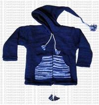 Kids size woolen long-hood Navy jacket