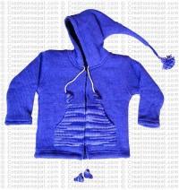 Kids size woolen long-hood Purple jacket