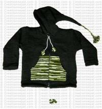 Kids size woolen long-hood Dark green jacket