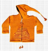 Kids size woolen long-hood Orange jacket