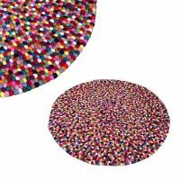 Felt balls round rug - 140 cm