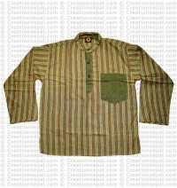 Long sleeves patch pocket adult shirt-green