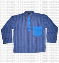 Long sleeves patch pocket adult shirt-blue