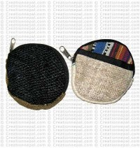 Hemp-cotton round coin purse
