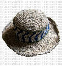 Hemp + cotton wire round hat1