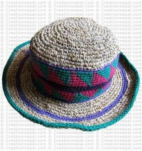 Hemp + cotton wire round hat3