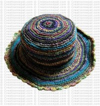 Hemp + cotton wire round hat5