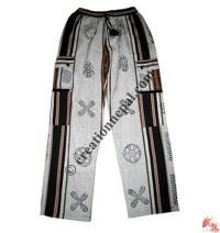 Cotton block print box-pocket trouser
