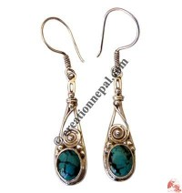 Silver wire Turquoise ear rings