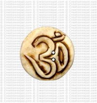 Om carved bone button (Packet of 10)