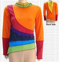 Rainbow hooded rib jacket