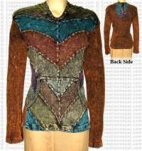 Patch-work stone wash rib jacket