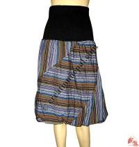 Stripes mini skirt with rib elastic