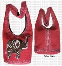 Elephant embroidered cotton lama bag